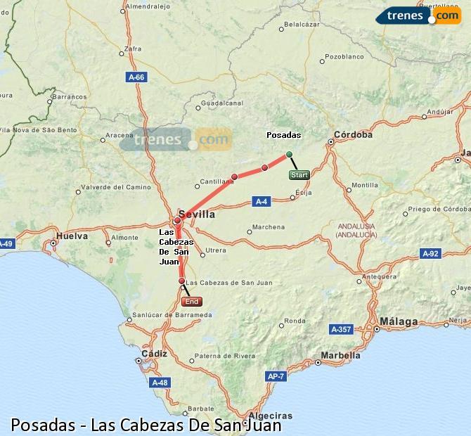 Ingrandisci la mappa Treni Posadas Las Cabezas De San Juan