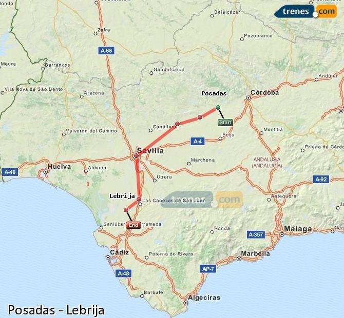 Karte vergrößern Züge Posadas Lebrija