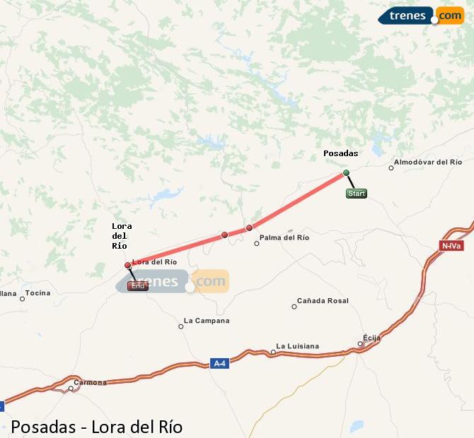Ingrandisci la mappa Treni Posadas Lora del Río