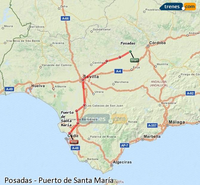Ingrandisci la mappa Treni Posadas Puerto de Santa María