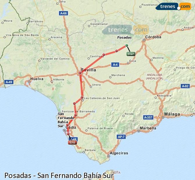 Enlarge map Trains Posadas to San Fernando South Bay
