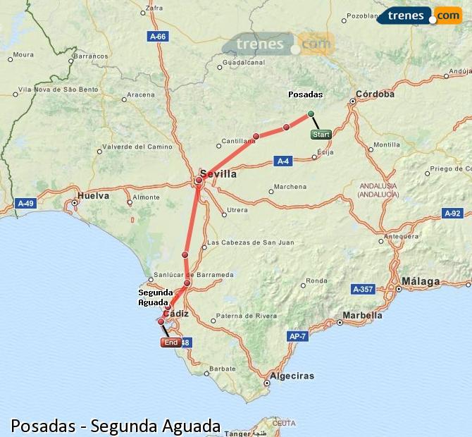 Karte vergrößern Züge Posadas Segunda Aguada
