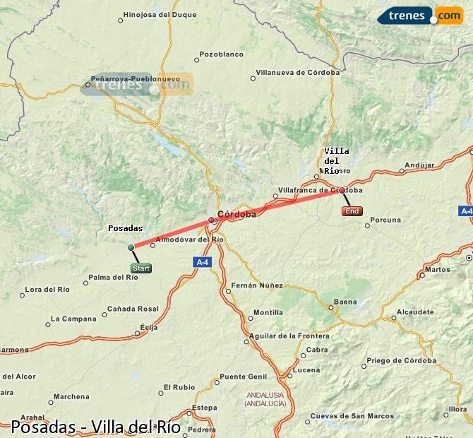 Agrandir la carte Trains Posadas Villa del Río