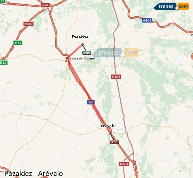 Ingrandisci la mappa Treni Pozaldez Arévalo