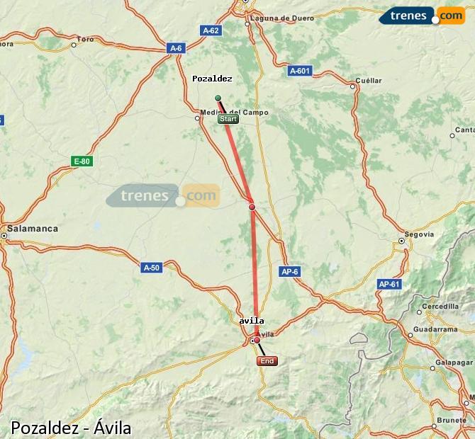 Ingrandisci la mappa Treni Pozaldez Ávila