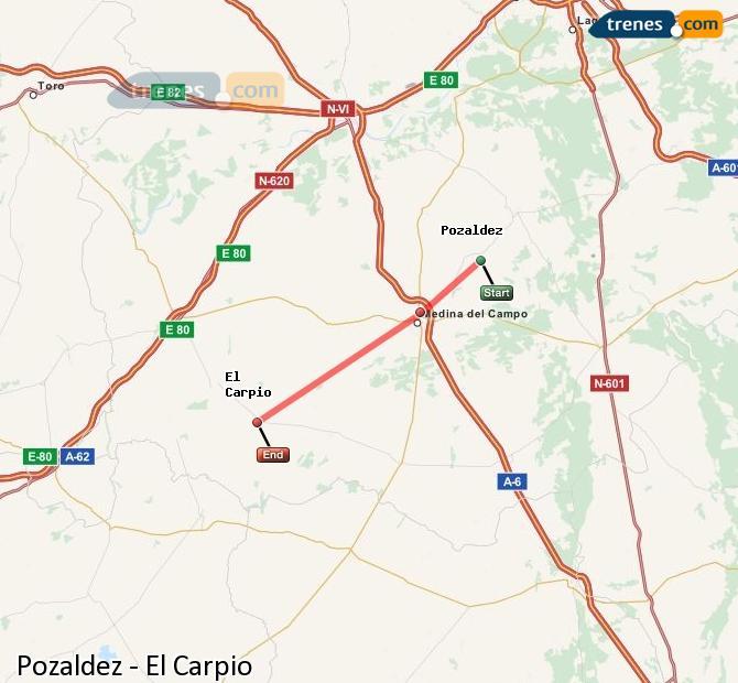 Ingrandisci la mappa Treni Pozaldez El Carpio