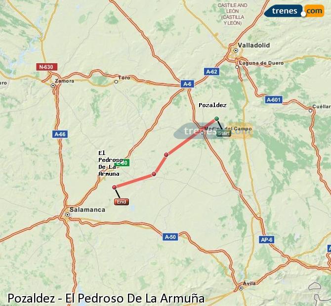 Ingrandisci la mappa Treni Pozaldez El Pedroso De La Armuña