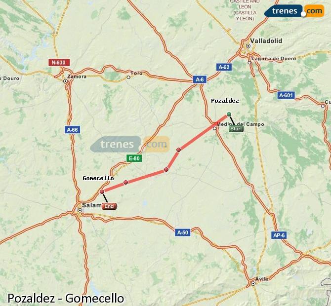 Ingrandisci la mappa Treni Pozaldez Gomecello