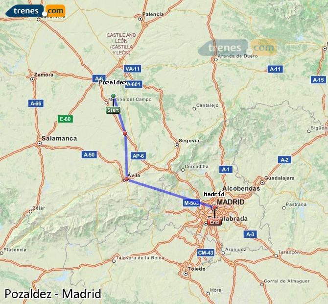 Ingrandisci la mappa Treni Pozaldez Madrid