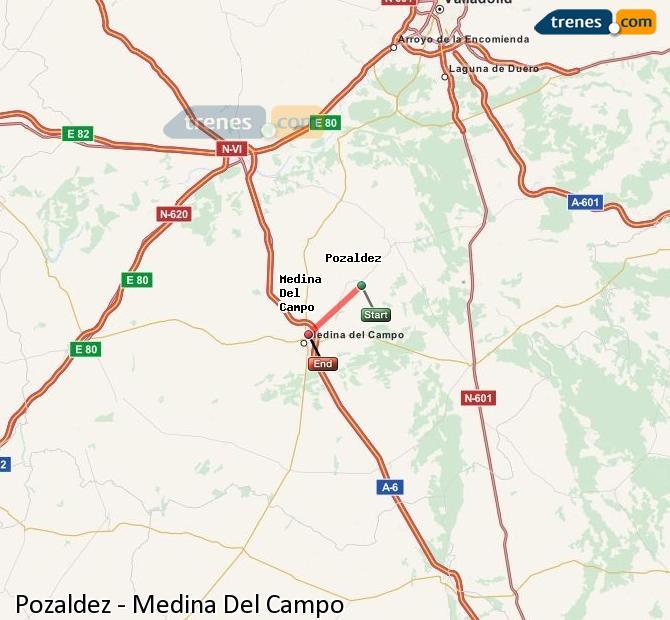 Karte vergrößern Züge Pozaldez Medina Del Campo