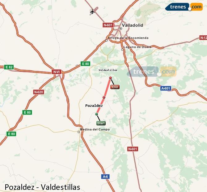 Karte vergrößern Züge Pozaldez Valdestillas