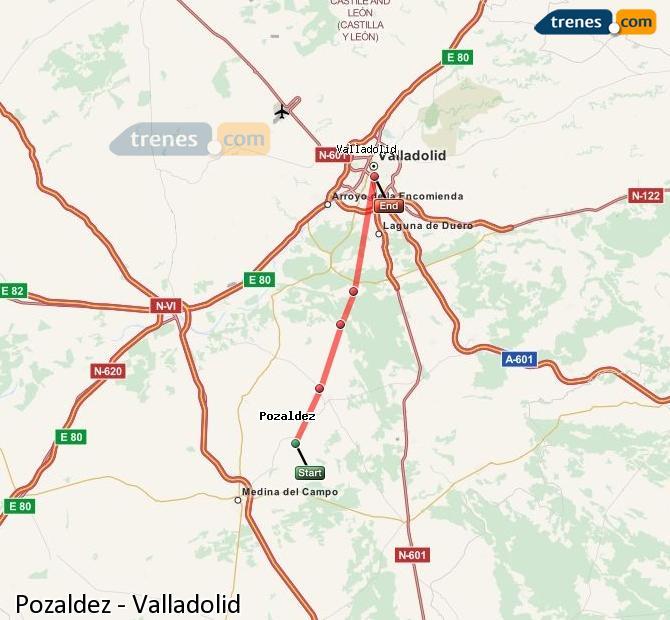 Ingrandisci la mappa Treni Pozaldez Valladolid