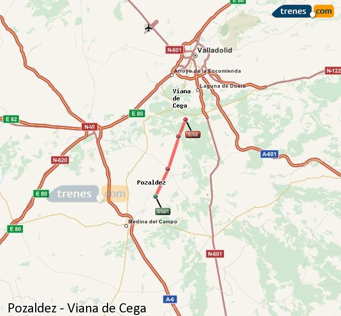 Ingrandisci la mappa Treni Pozaldez Viana de Cega