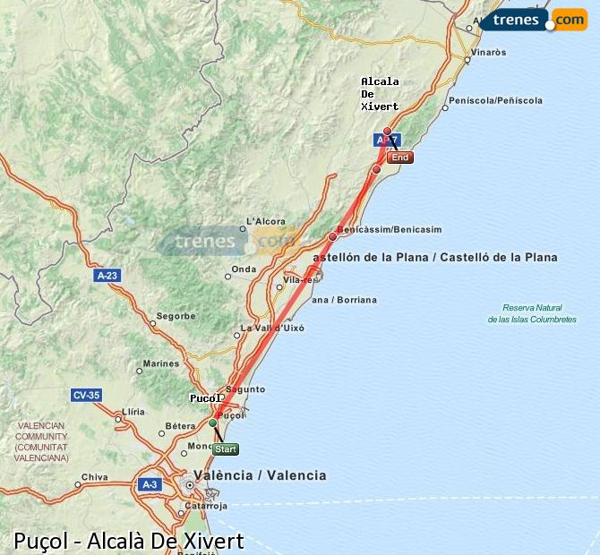 Enlarge map Trains Puçol to Alcalà De Xivert