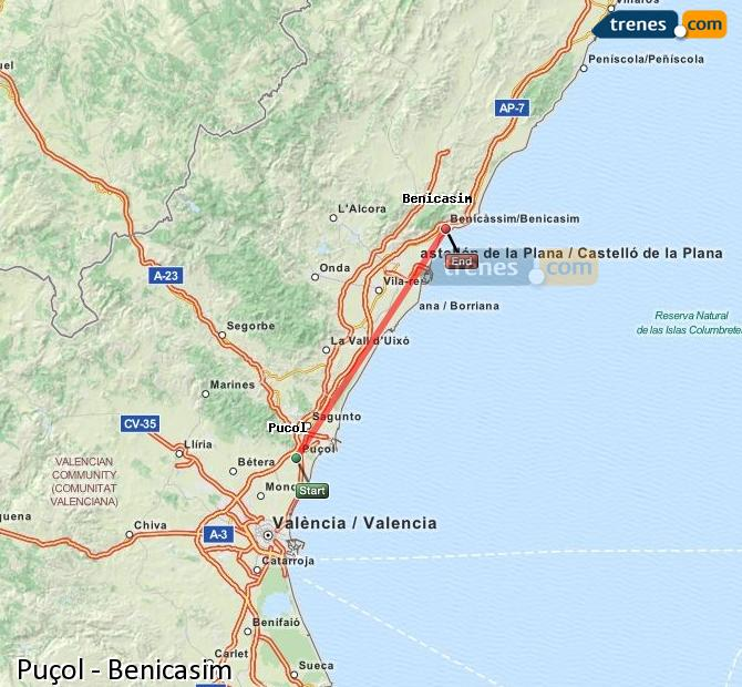 Enlarge map Trains Puçol to Benicasim