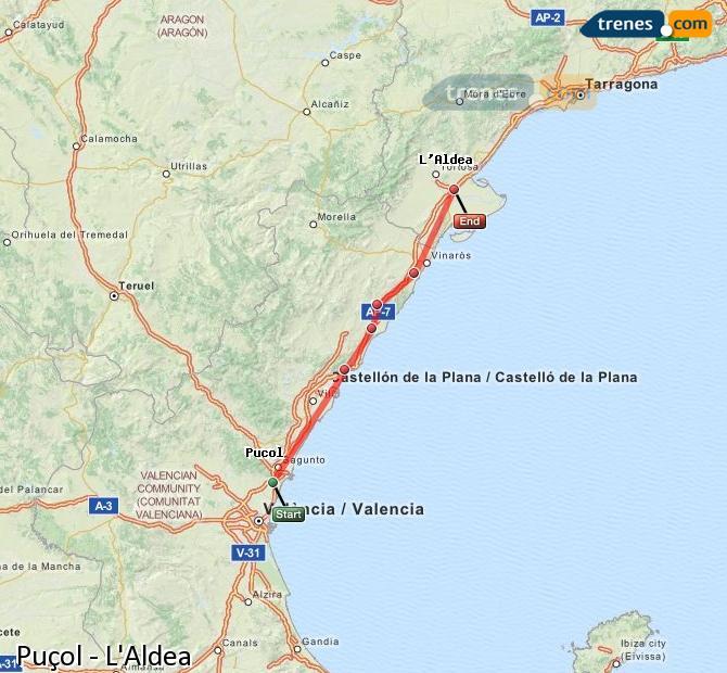 Enlarge map Trains Puçol to L'Aldea