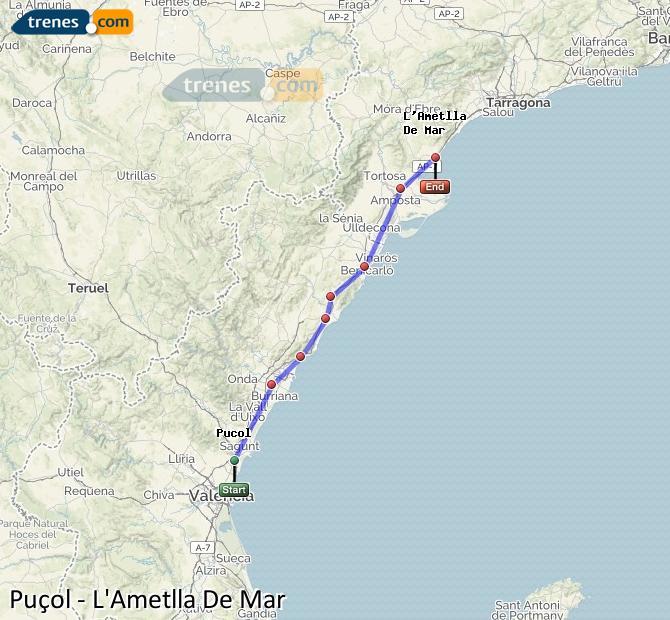 Ingrandisci la mappa Treni Puçol L'Ametlla De Mar