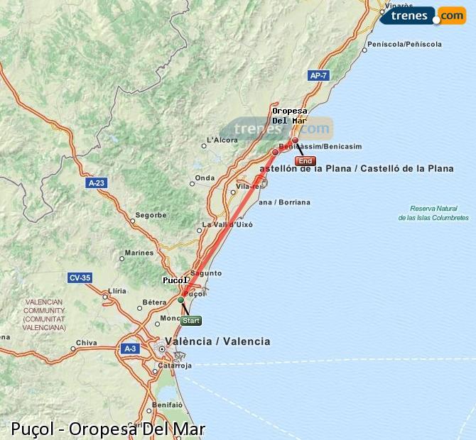 Enlarge map Trains Puçol to Oropesa Del Mar