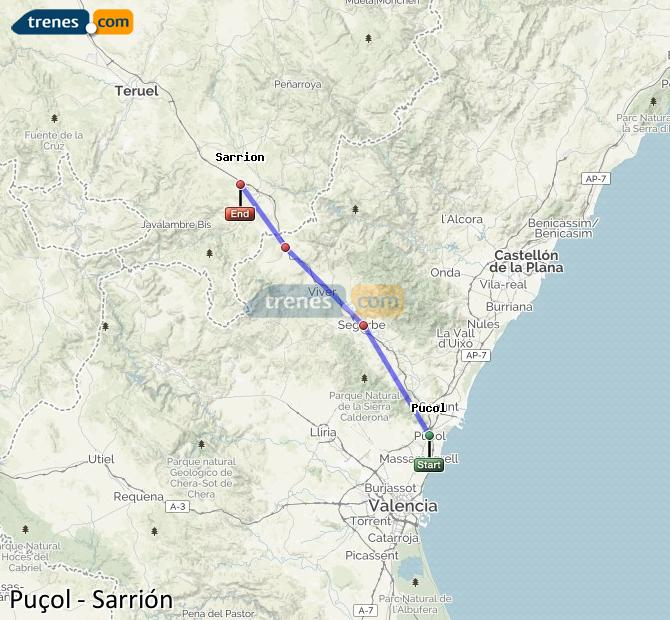 Ampliar mapa Comboios Puçol Sarrión