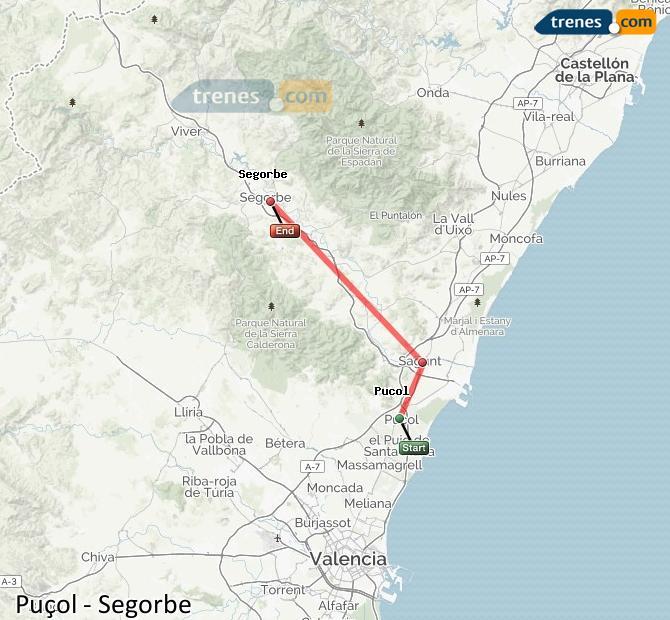 Ampliar mapa Comboios Puçol Segorbe