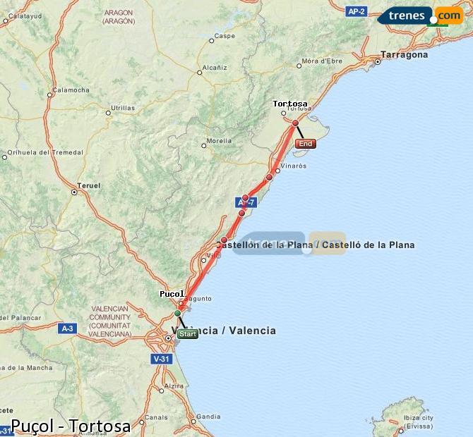 Ingrandisci la mappa Treni Puçol Tortosa