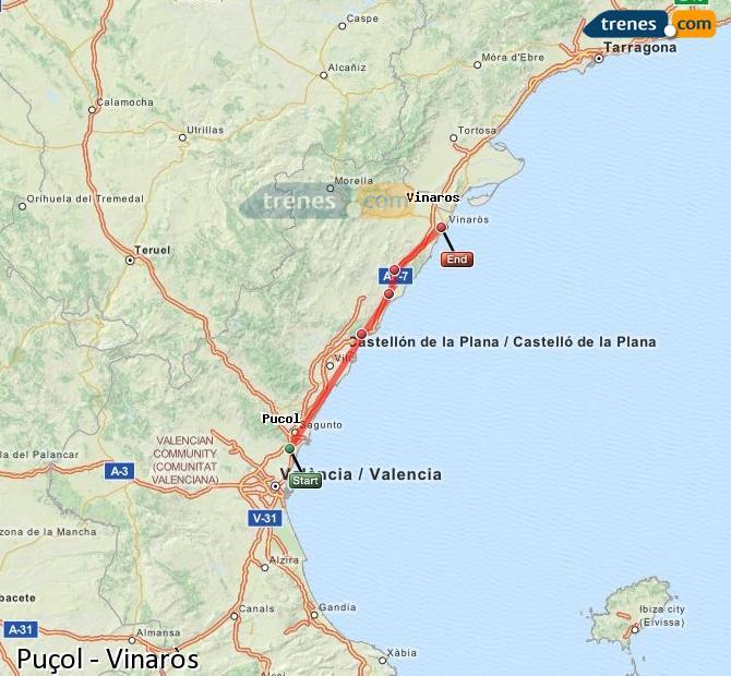Karte vergrößern Züge Puçol Vinaròs