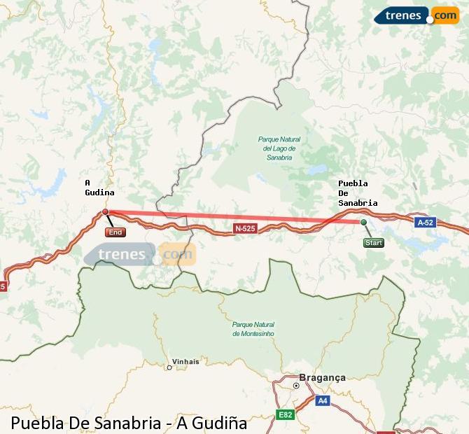 Karte vergrößern Züge Puebla De Sanabria A Gudiña