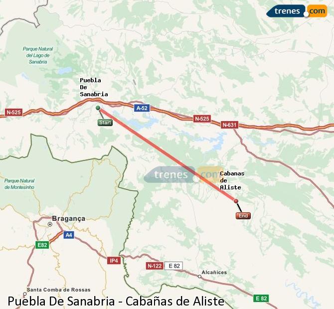 Agrandir la carte Trains Puebla De Sanabria Cabañas de Aliste
