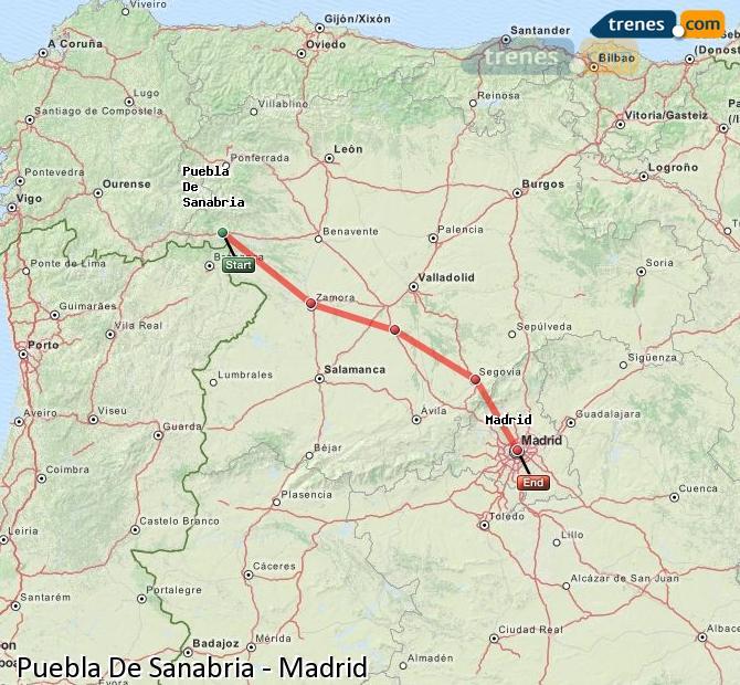 Ingrandisci la mappa Treni Puebla De Sanabria Madrid