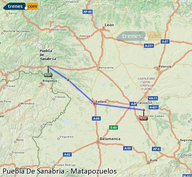 Ingrandisci la mappa Treni Puebla De Sanabria Matapozuelos