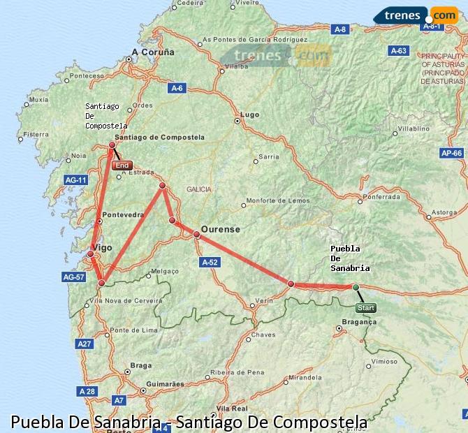 Ingrandisci la mappa Treni Puebla De Sanabria Santiago De Compostela