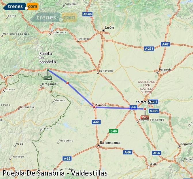 Karte vergrößern Züge Puebla De Sanabria Valdestillas