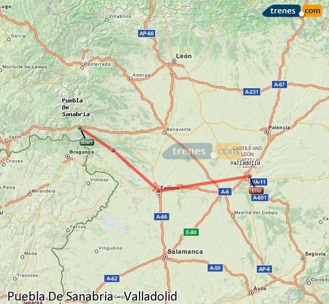 Ingrandisci la mappa Treni Puebla De Sanabria Valladolid