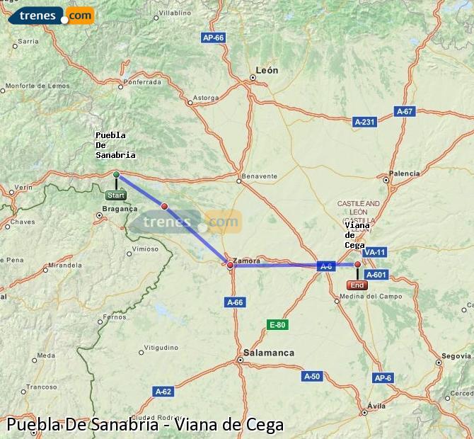 Enlarge map Trains Puebla De Sanabria to Viana de Cega