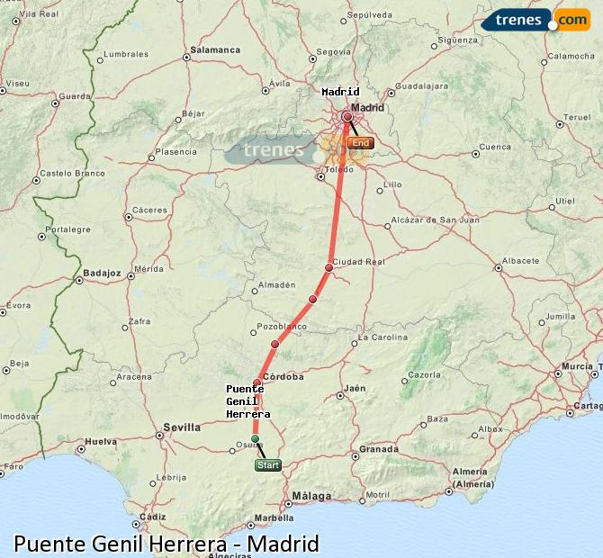 Enlarge map Trains Bridge Genil Herrera to Madrid