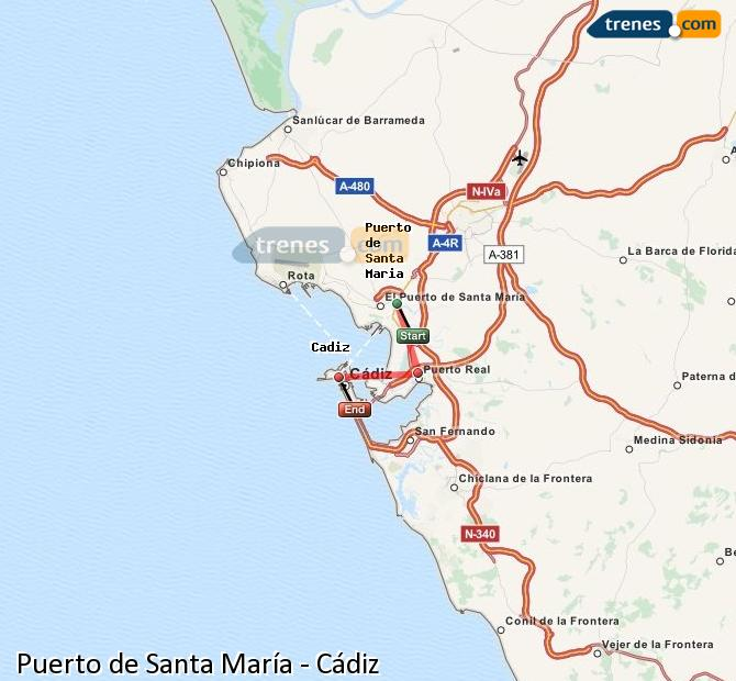 Enlarge map Trains Port of Santa Maria to Cadiz