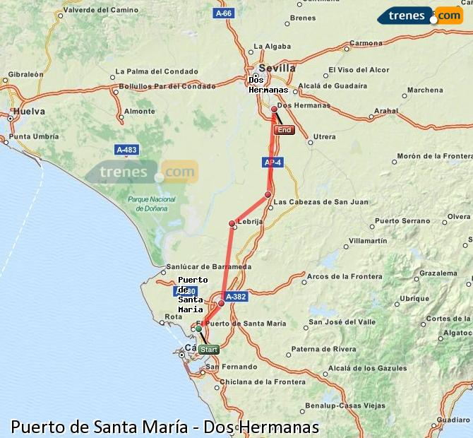 Enlarge map Trains Port of Santa Maria to Dos Hermanas