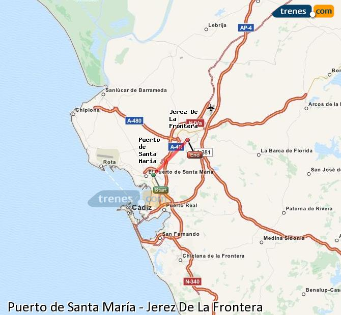 Enlarge map Trains Port of Santa Maria to Jerez De La Frontera