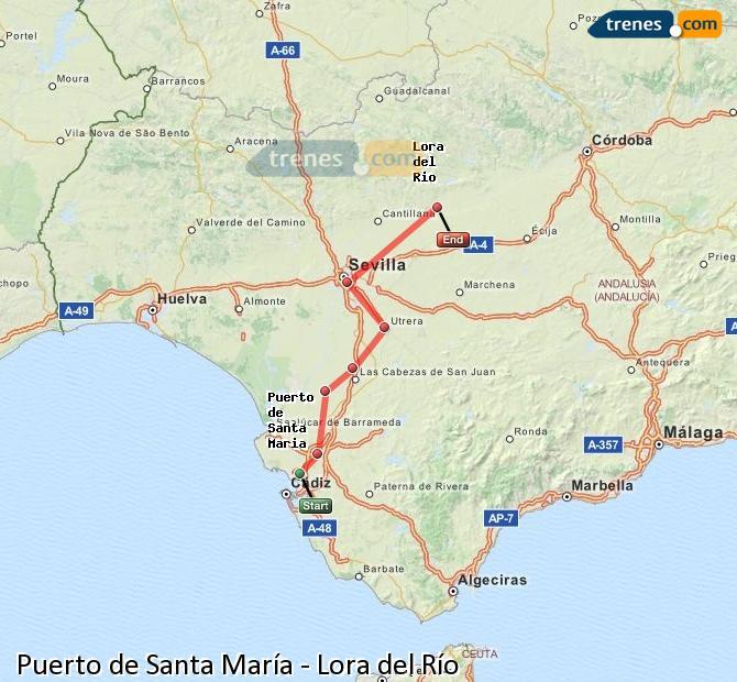Enlarge map Trains Port of Santa Maria to Lora del Río