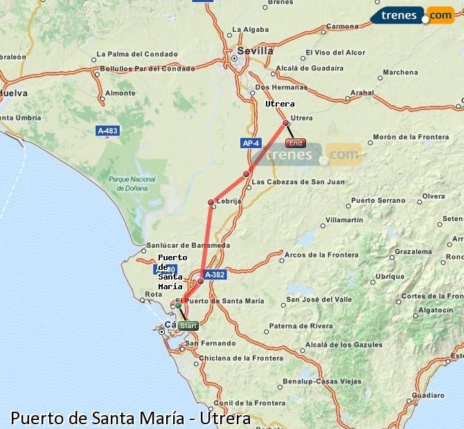 Agrandir la carte Trains Puerto de Santa María Utrera