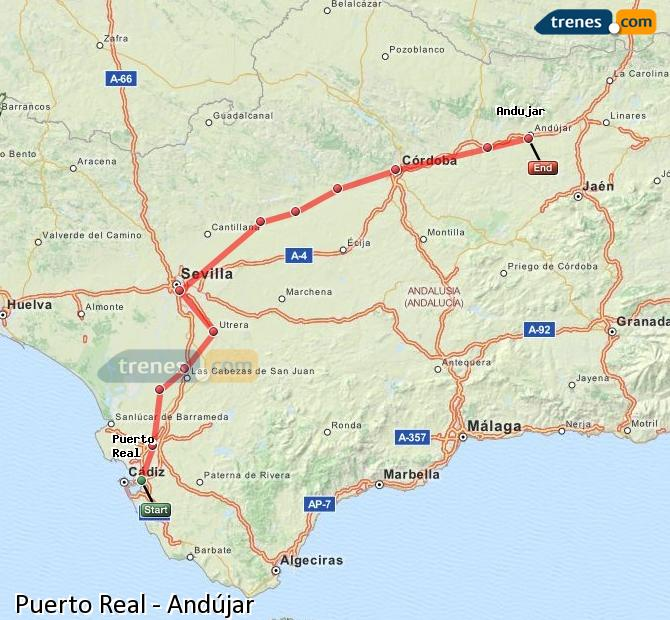 Enlarge map Trains Puerto Real to Andújar