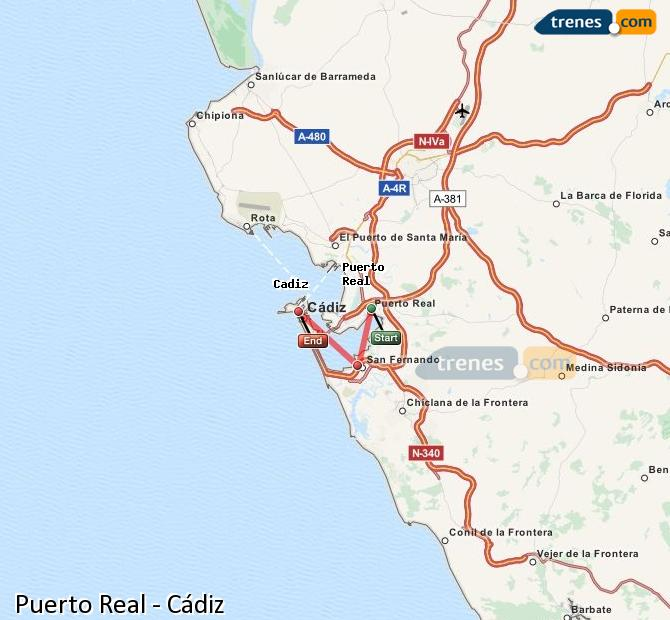 Enlarge map Trains Puerto Real to Cadiz