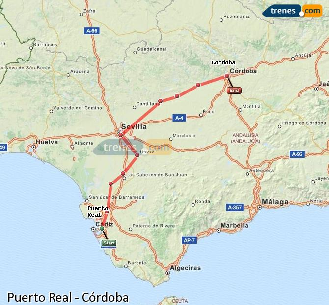 Enlarge map Trains Puerto Real to Córdoba