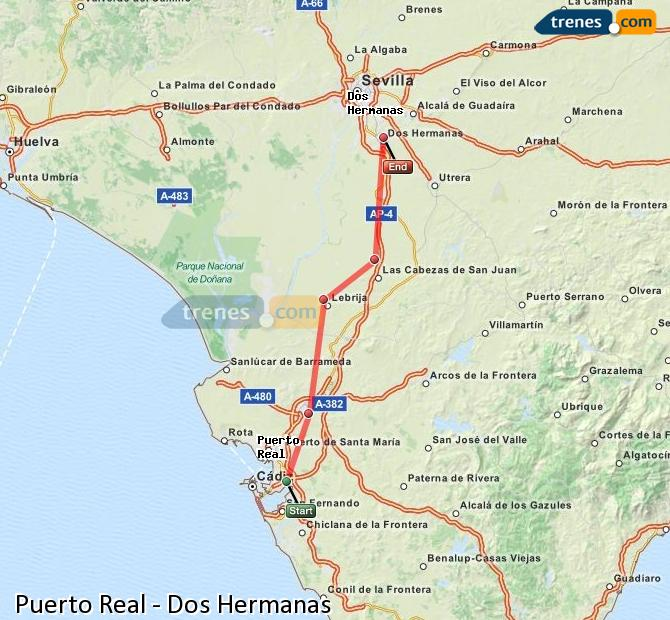 Enlarge map Trains Puerto Real to Dos Hermanas