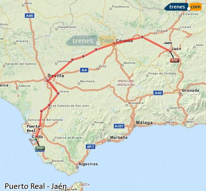 Enlarge map Trains Puerto Real to Jaén