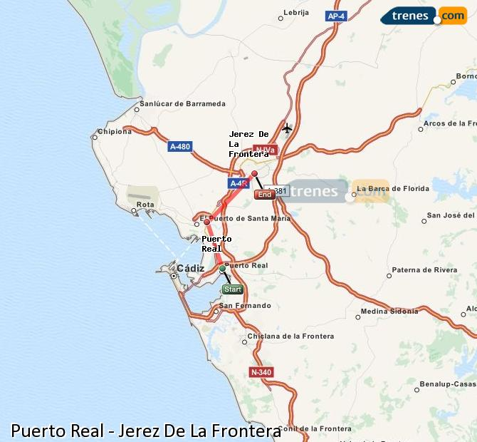 Enlarge map Trains Puerto Real to Jerez De La Frontera