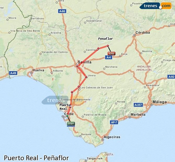Agrandir la carte Trains Puerto Real Peñaflor