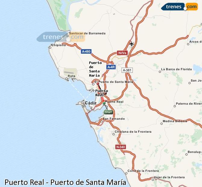 Agrandir la carte Trains Puerto Real Puerto de Santa María