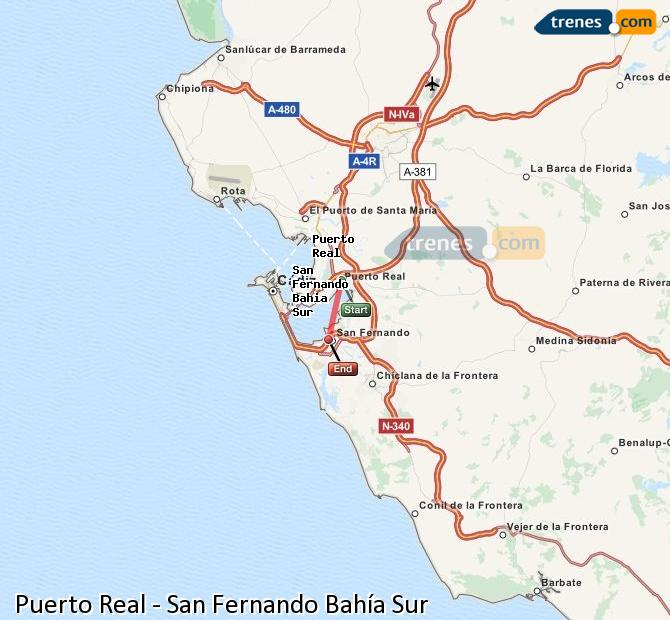 Enlarge map Trains Puerto Real to San Fernando South Bay