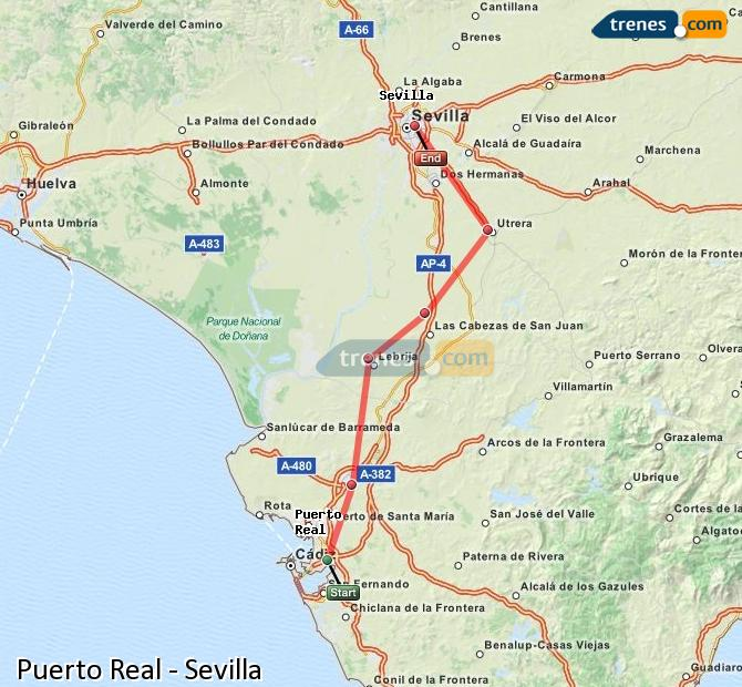 Enlarge map Trains Puerto Real to Seville